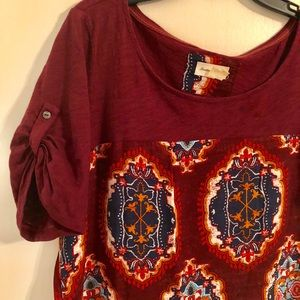 Anthropologie meadow rue solvo tunic wine top M